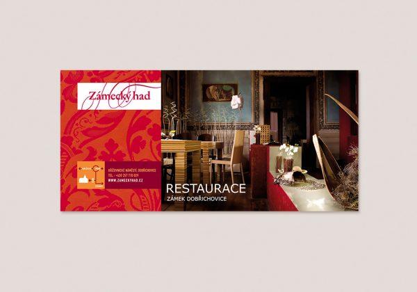 Návrh billboardu restaurace Zámecký had | fotografování interiéru