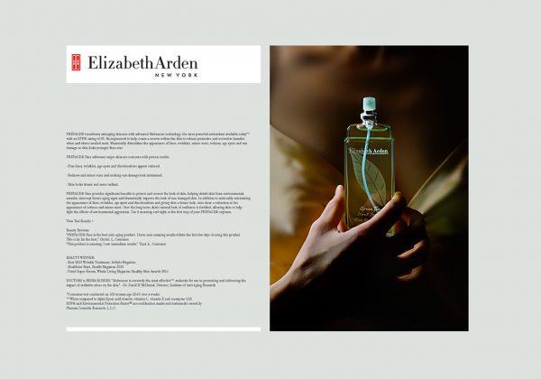 Návrh letáku a fotografie produktů značky Elizabeth Arden