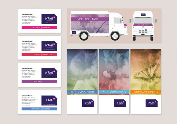 Návrh vizitek, polepů firemních automobilů a letáků firmy antalis