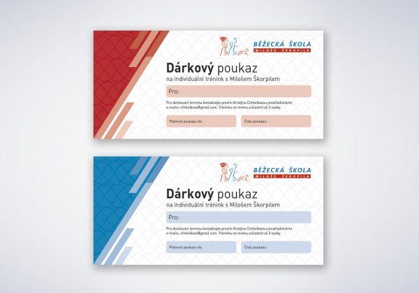 Design dárkových poukazů Běžecké školy Miloše Škorpila